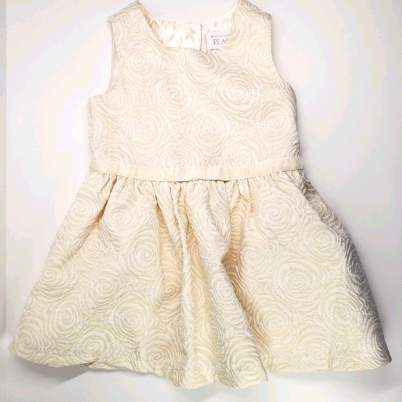 Childrens Place 2T ivory gold dress